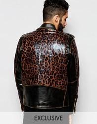 Reclaimed Vintage Distressed Leather Biker Jacket With Leopard Print Sleeves And Back Black