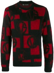 Versace Logo Pattern Jumper Black