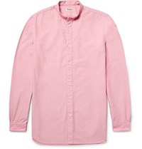 Camoshita Slim Fit Grandad Collar Cotton Oxford Shirt Pink