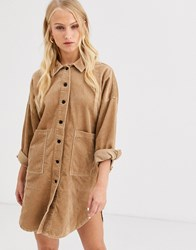 Only Cord Oversized Shirt Dress Brown
