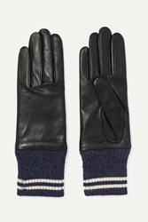 Rag And Bone Striped Ribbed Alpaca Trimmed Leather Gloves Black