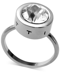 T Tahari Ring Silver Tone Round Crystal Ring