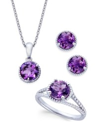 Macy's Amethyst Rope Style Pendant Necklace Stud Earrings And Ring Set 4 Ct. T.W. In Sterling Silver Purple