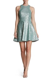 Women's Dress The Population 'Ginger' Sequin Fit And Flare Dress Mint Grey
