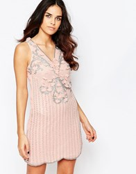 A Star Is Born Pleated Skater Dress With Embellished Detail Rose