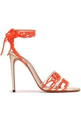 Missoni Lace Up Braided Suede And Metallic Leather Sandals Platinum