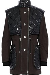 Sonia Rykiel Woman Quilted Shell Paneled Cotton Canvas Coat Dark Brown