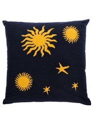 The Elder Statesman Navy And Yellow Astronomy Cashmere Knit Pillow 60