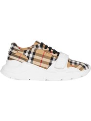 Burberry Vintage Check Cotton Sneakers Brown