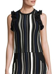 3.1 Phillip Lim Striped Ruffle Sport Tank Top Black