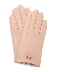 Ted Baker Avia Metallic Bow Leather Gloves Pale Pink