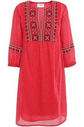 Baandsh Woman Agda Embroidered Metallic Cotton Blend Gauze Mini Dress Red