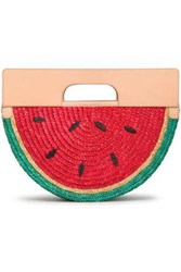 Alice Olivia Woman Leather And Raffia Tote Crimson