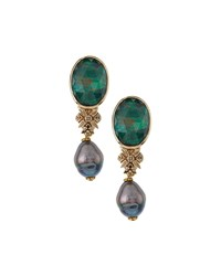Stephen Dweck Malachite And Crystal Quartz Doublet With Pearl Drop Earrings Women's
