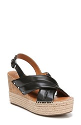 Sarto By Franco Sarto 'S Niva Espadrille Wedge Sandal Black Leather