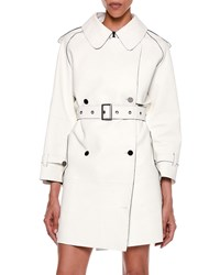 Tom Ford Contrast Trim Bonded Leather Trench Coat White