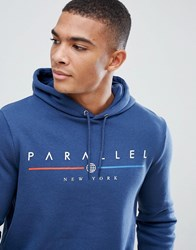 New Look Hoodie With Parallel Print In Blue