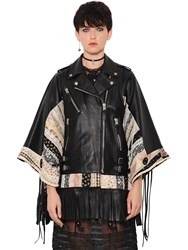 Coach 1941 Floral Patchwork And Leather Kimono Jacket
