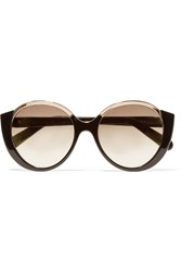 Cutler And Gross Mai Tai Round Frame Acetate And Rose Gold Tone Sunglasses Black Blush