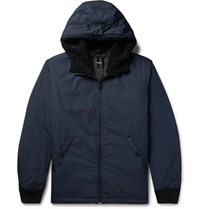 Theory Vernon Faux Shearling Trimmed Shell Hooded Down Jacket Navy