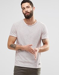 Only And Sons Stripe T Shirt Red