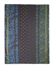 Kenzo Patterned Striped Large Scarf Navy Multi