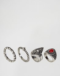 Asos Pack Of 4 Festival Stone And Etched Rings Red