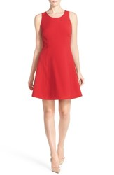 Women's Marc New York Scoop Neck Crepe Fit And Flare Dress Red