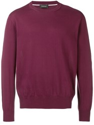 Z Zegna Long Sleeve Fitted Sweater Red