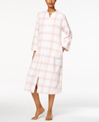 Miss Elaine Plush Zip Front Long Robe Pink Plaid