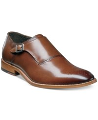 Stacy Adams Men's Dinsmore Plain Toe Monk Strap Loafers Men's Shoes Cognac