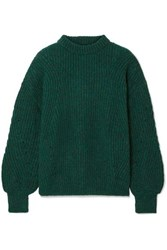 Anine Bing Jolie Ribbed Knit Sweater Forest Green
