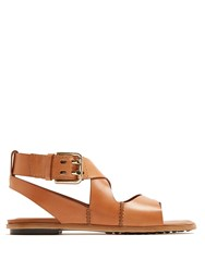 Tod's Crossover Strap Leather Sandals Light Tan