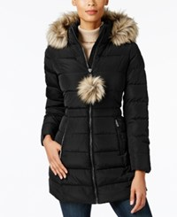 Inc International Concepts Faux Fur Trim Puffer Coat Created For Macy's Black