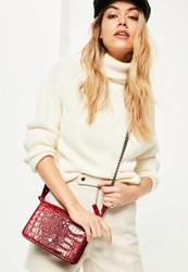 Missguided Red Croc Effect Cross Body Bag