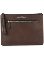 Salvatore Ferragamo Zipped Clutch Bag Men Calf Leather One Size Brown
