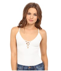 Free People The Cross Fire Lace Up Cami Ivory Women's Sleeveless White
