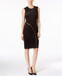 Calvin Klein Zipper Sheath Dress Black