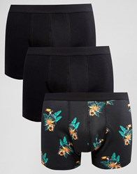Asos Trunks With Toucan Floral Print 3 Pack Black