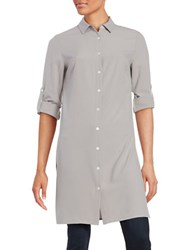 Context Spread Collar Button Down Long Shirt Grey