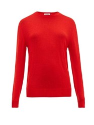 Jil Sander Round Neck Wool Sweater Red
