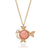 S H Koh Magical Fish Pendant Coral And Crystal Gold