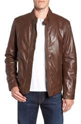 Andrew Marc New York Emerson Lightweight Leather Moto Jacket Mahogany