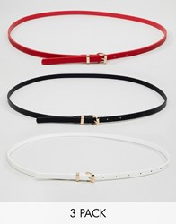 New Look 3 Pack Skinny Belts Red Pattern