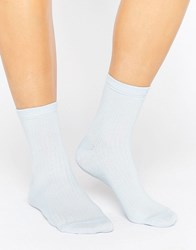 Asos Ribbed Ankle Socks Baby Blue