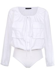 Andrea Marques Drawstring Bodysuit White
