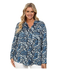 Michael Michael Kors Plus Size Kathumar Pocket Long Sleeve Button Down Heritage Blue Women's Long Sleeve Button Up Navy