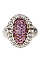 Lagos Muse Sterling Silver Pave Pink Sapphire Fluted Ring Size 7 Metallic