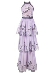 Marchesa Notte Embroidered Sleeveless Dress Purple