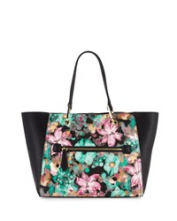 Neiman Marcus Oval Ring Small Tote Bag Mint Floral Black